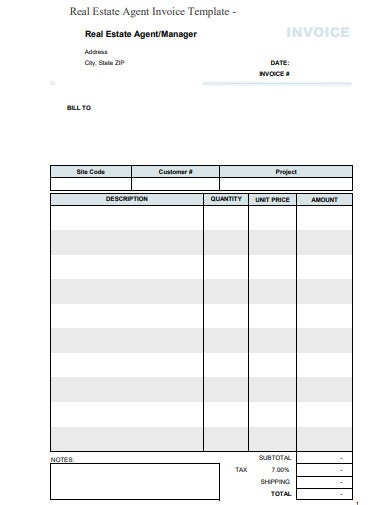 real estate agent invoice example