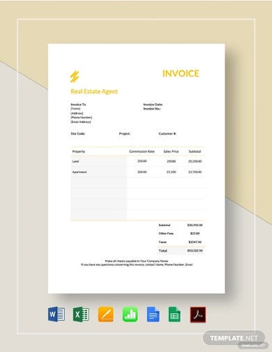 real estate agent invoice template1