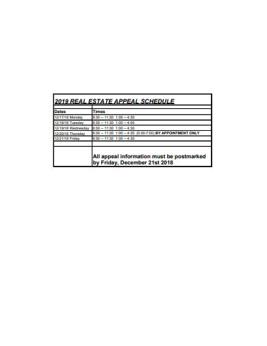 real estate appeal schedulae template