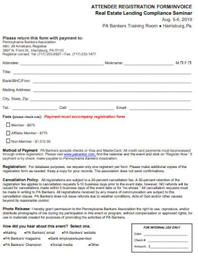 real estate attendee registrtion invoice