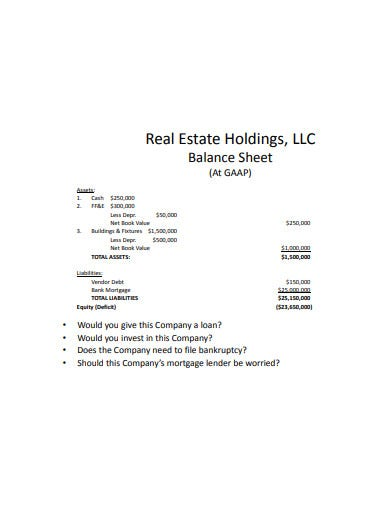 real estate balance sheet template