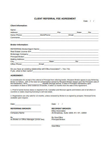 real estate client referral fee agreement