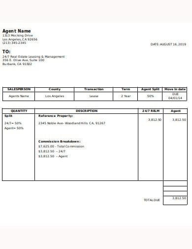 real estate commission breakdown invoice template