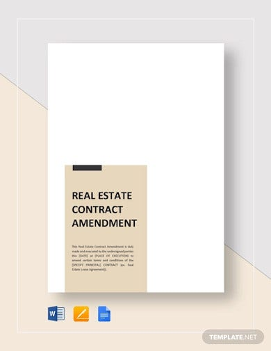 real estate contract amendment template1