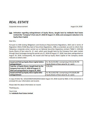 real estate corporate announcement letter template