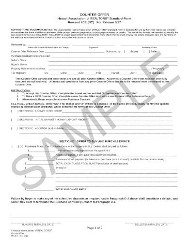 real estate counter offer form