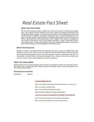 real estate fact sheet example