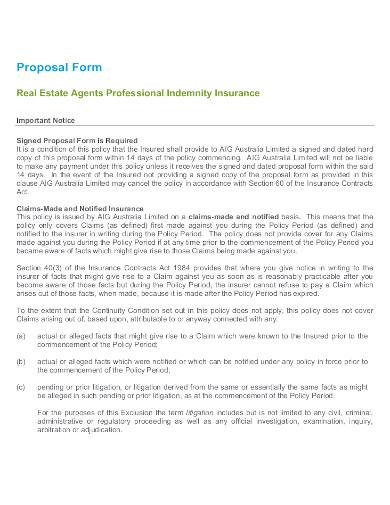 real estate insurance proposal form