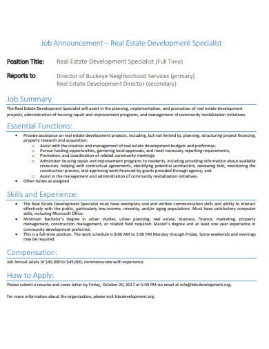 real estate job announcement letter template
