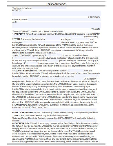 real estate lease agreement sample