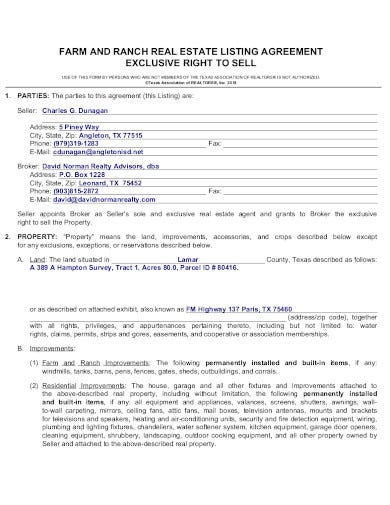 real estate listing agreement template