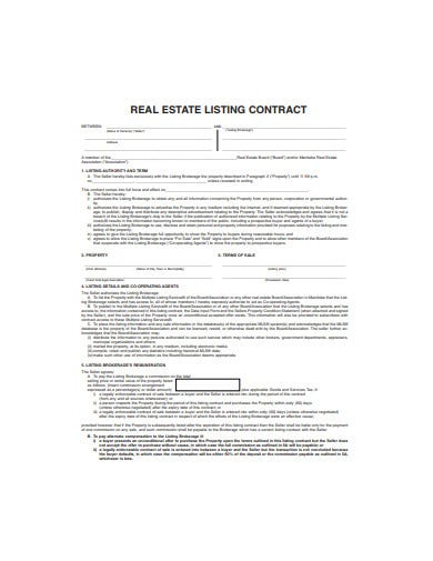 real-estate-listing-contract-template