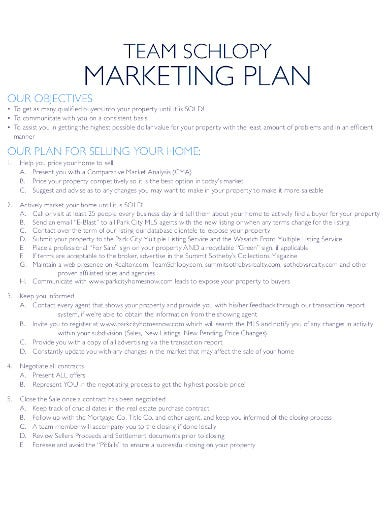 real estate listing marketing plan example