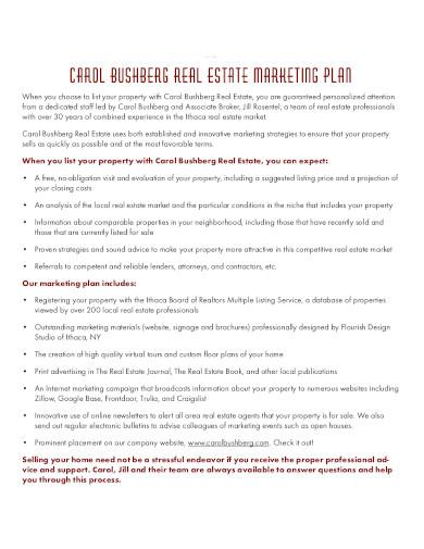 real estate listing marketing plan template