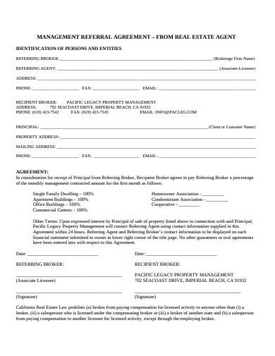 real estate management referral agreement template