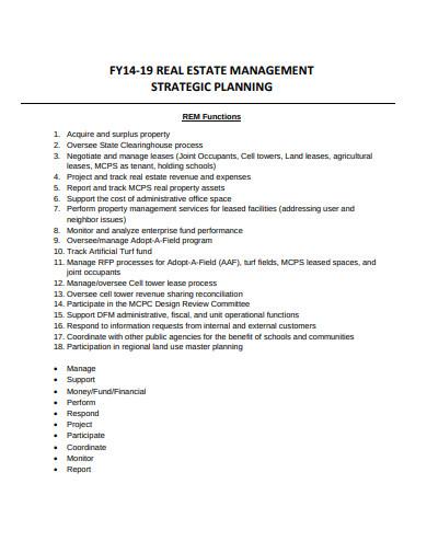 real estate management strategic planning template