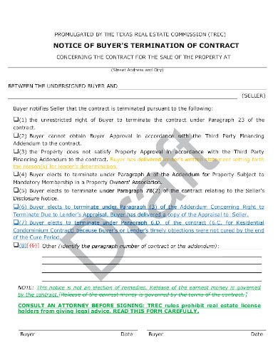 real estate notice of buyers termination of contract