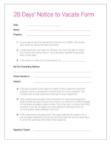 real estate notice to vacate form in pdf