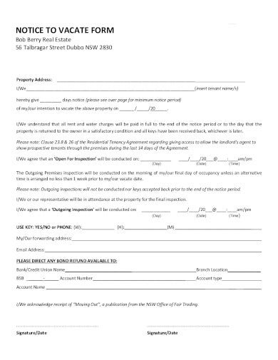 real estate notice to vacate form