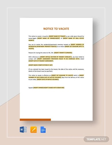 real estate notice to vacate template