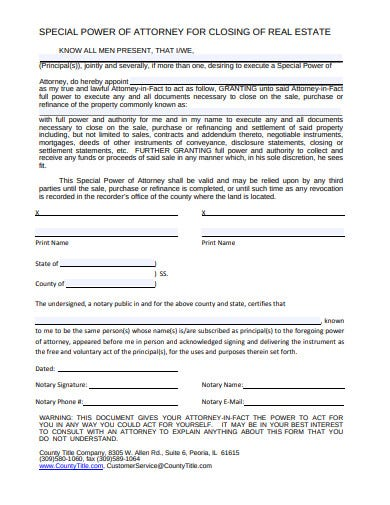 real estate power of attorney format