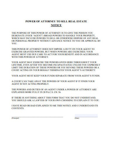real estate power of attorney notice example