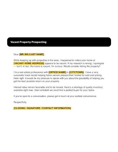 real estate property prospecting letter