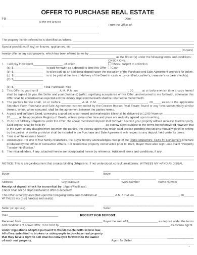 real estate purchase offer rejection template