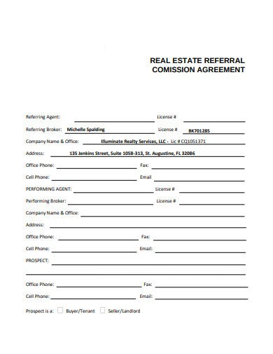 real estate referral commission agreement