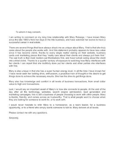 real estate referral letter template
