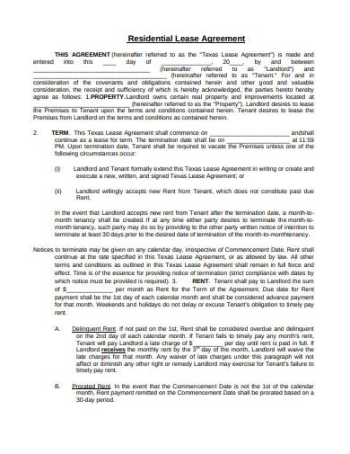 real estate residential lease agreement format