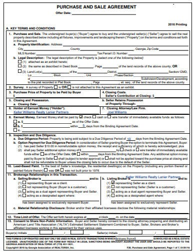 real estate sale agreement format