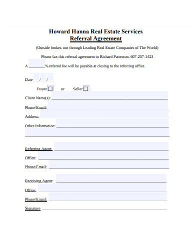 real estate services referral agreement