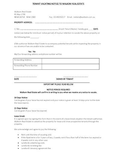 real estate tenant vacate notice
