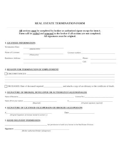 real estate termination notice form