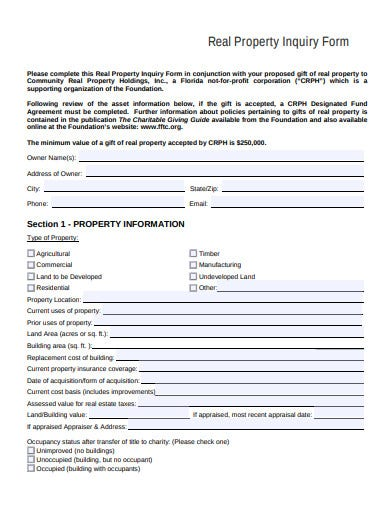 real property inquiry form template
