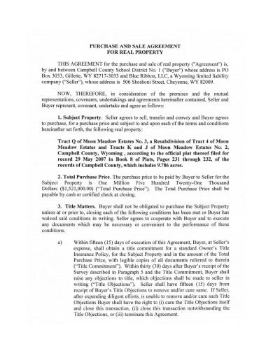 real property sale agreement example
