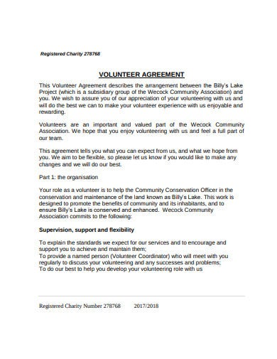 registered charity volunteer agreement template