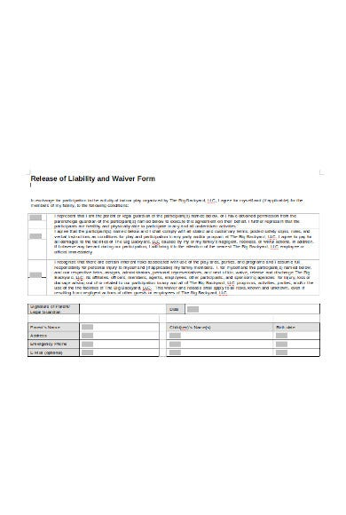 release of liability and waiver form in pdf