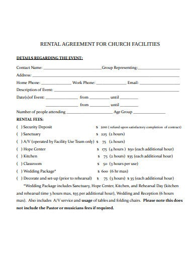 rental agreement for church facilities template
