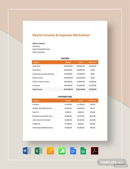 rental income expense worksheet template