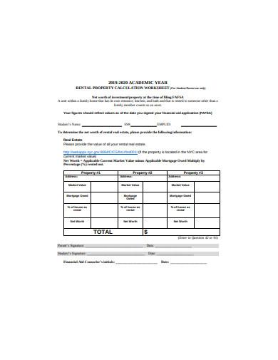 rental property calculation worksheet template