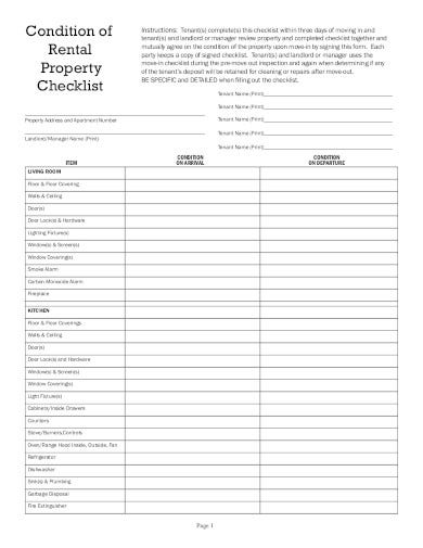 rental property handover checklist template