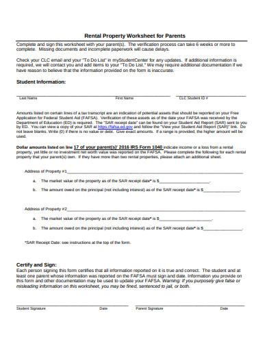 rental property worksheet for parents template