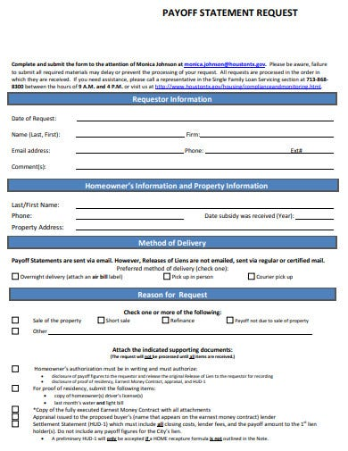 request payoff statement template