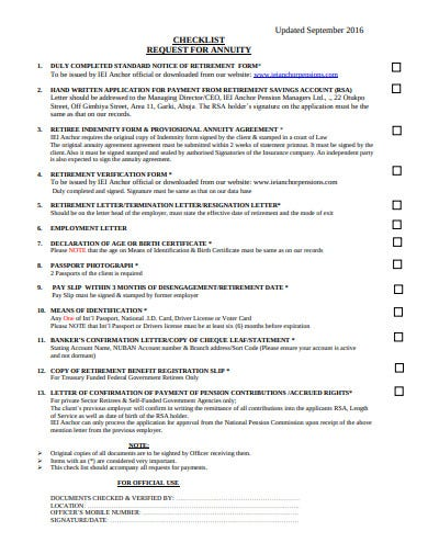 request for annuity checklist template