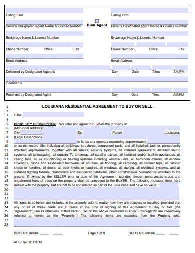 residential buy sell agreement template