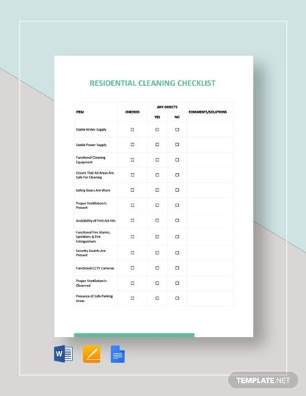 residential cleaning checklist template