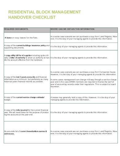 residential property handover checklist