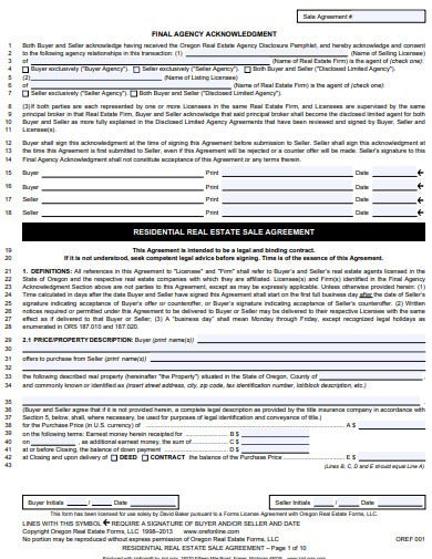 residential real estate sale agreement template